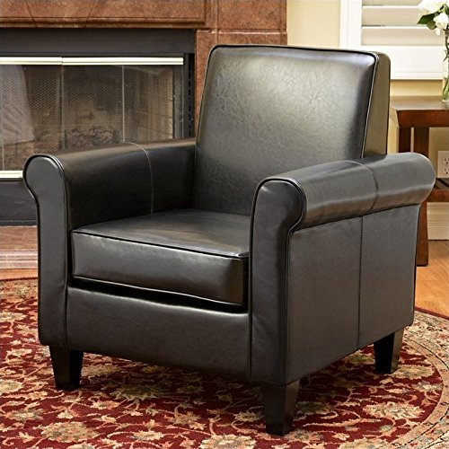 Noble House Trent Home William Leather Club Chair in Black
