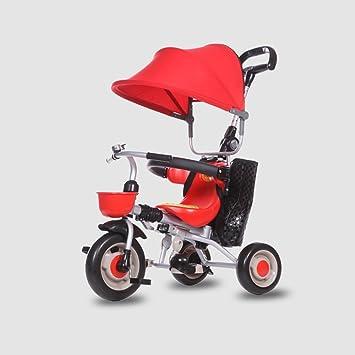 DACHUI niños triciclo plegable, 1-3 años carrito de bebé, bebé bicicleta, moto, carro del bebé (Color : rojo): Amazon.es: Deportes y aire libre