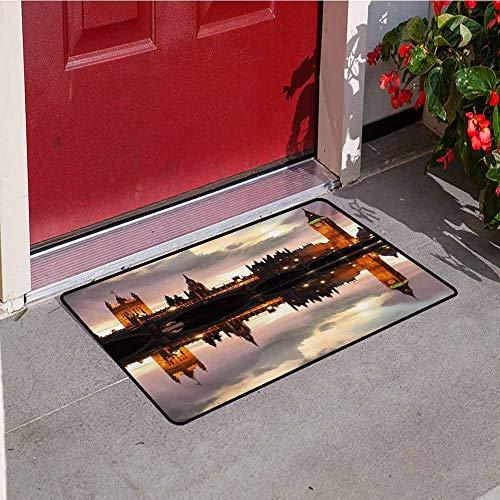 Jinguizi Urban Welcome Door mat Surreal Evening at Big Ben London Historical Architecture British Town UK Scene Door mat is odorless and Durable W29.5 x L39.4 Inch Cinnamon Grey