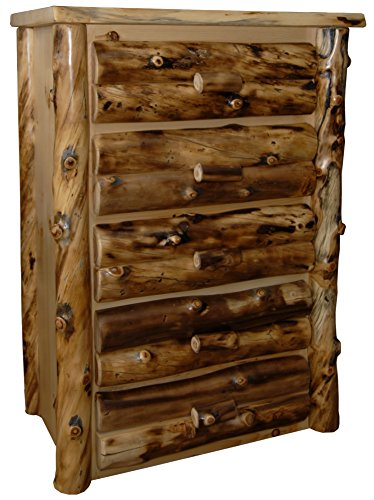 Rustic Aspen Log 5 Drawer Dresser ()