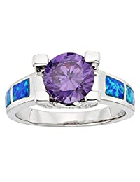Sterling Silver Created Blue Opal & Amethyst Circle CZ Ring