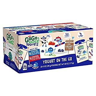 GoGo squeeZ YogurtZ, Variety Pack (Blueberry/Strawberry), 3 Ounce (20 Pouches), Low Fat Yogurt, Gluten Free, Reusable, BPA Free Pouches (Package May Vary)