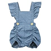 SWNONE Infant Baby Girls Ruffle Bowknot Romper Denim Jeans Short Sleeve Sunsuit Jumpsuit One Piece (Blue, 0-6 Months)