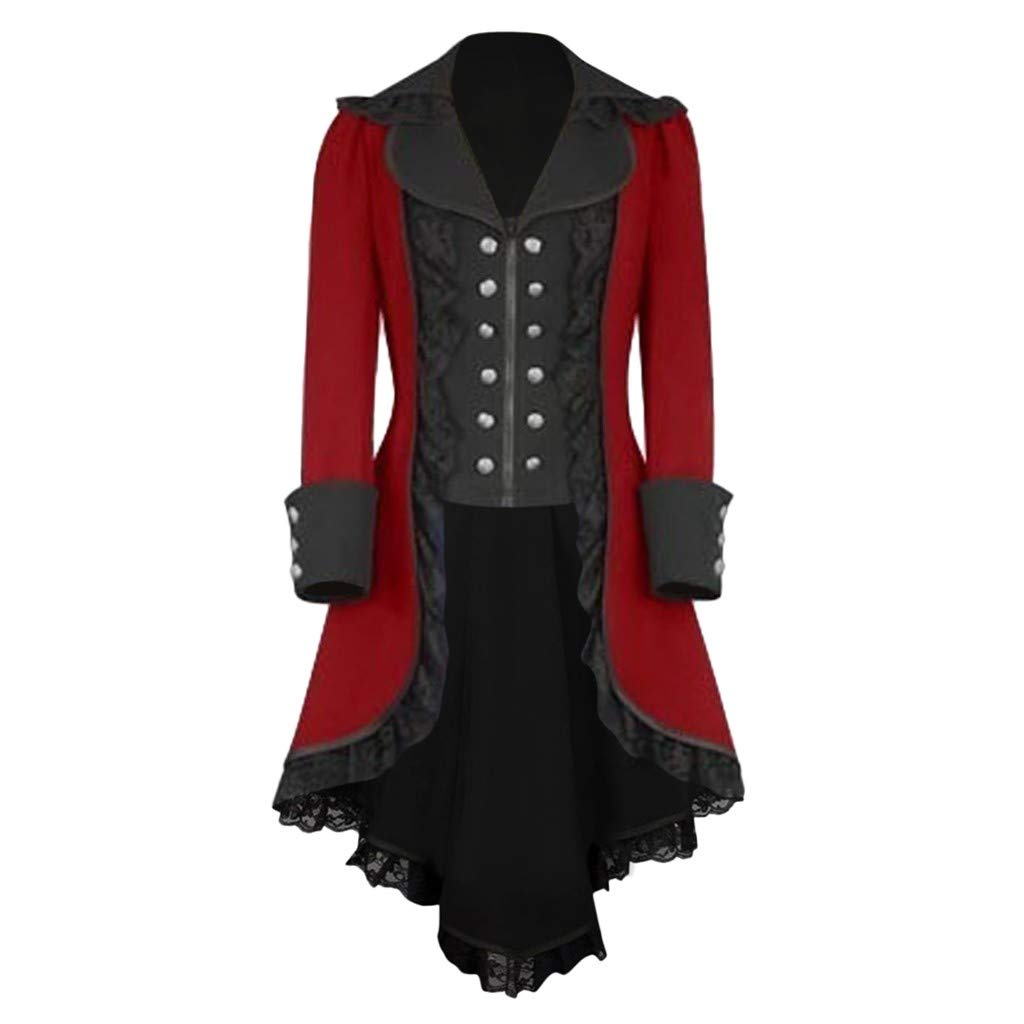 Kstare Steampunk Coat Casual Jackets Retro Victorian Punk Women Long-Sleeved Waist Back Bandage Over Coat Skirt (Red3, M) by Kstare Coat