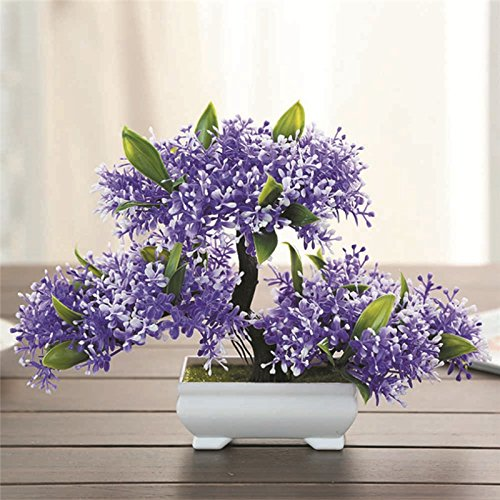 TRIEtree Artificial Bonsai, 2Pcs Plastic Mini Creative Bonsai Tree Flower Potted for Office Home Living Room Table Decor by TRIEtree (Image #5)