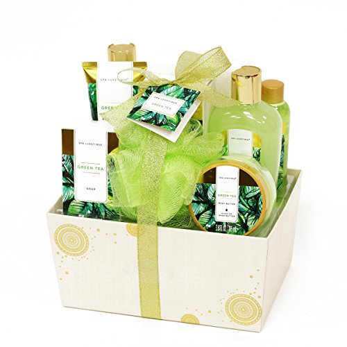 Assortment Gift Box (Spa Luxetique Green Tea Bath Gift Set for Her 8pc Premium Spa Gift Set for Women, Decorative Box with Ribbon, Spa Gift Basket for Christmas, Birthday, Mother's Day, Valentine's Day, Thank You Gift)