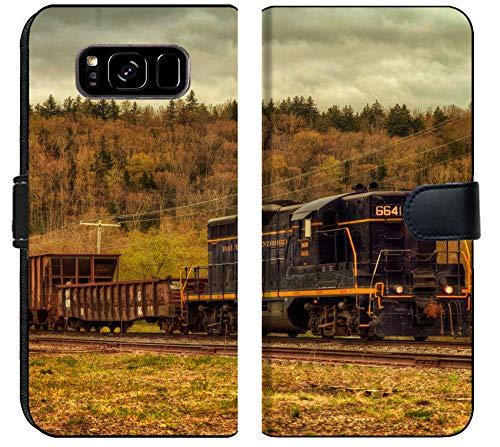 Samsung Galaxy S8 Plus Flip Fabric Wallet Case Image of Train Transport Locomotive Engine Railroad Old Travel Smoke Transportation Railway Track steam Metal rai