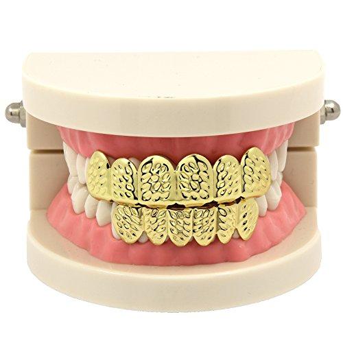 (Jewel Town New Custom Fit 14k Gold Plated Diamond Cut Hip Hop Mouth Teeth Grillz Caps Top & Bottom)