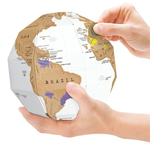 3D Scratch Globe World Map,Personalised 3D World Globe Travel Gift -Jigsaw Puzzle Globe Brain Teaser Educational Game Toys Halloween Christmas Gifts for Kids Children Adults DIY The Earth (Teaser Poster Puzzle)
