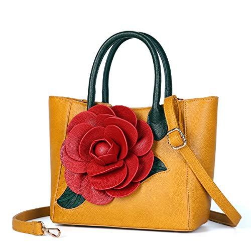 (Women Handbag 3D Flower Seris PU Leather Purse Tote Medium Crossbody Bag By Vanillachocolate (Medium, Yellow))