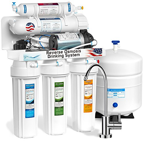 Express Water Reverse Osmosis Water Filtration System – 5 Stage RO Water Filter with Faucet and Tank – Under Sink Water Purifier – With Pressure Booster Pump – 100 GPD (Pump Permeate Ro)