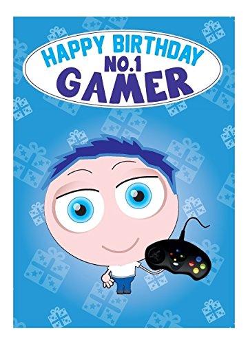 Tarjeta de felicitación de cumpleaños - nº 1 Gamer: Amazon ...