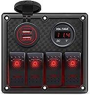 Gerguirry 4 Gang Waterproof Marine Boat Rocker Switch Panel with 12V/24V Dual USB Slot Socket + Voltmeter Red