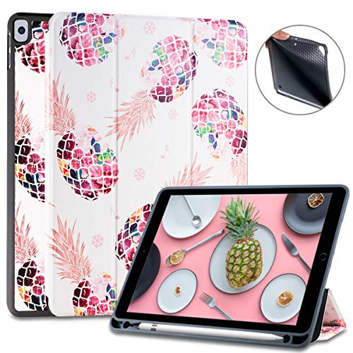 Lontect Compatible iPad Pro 10.5 Case with Apple Pencil Holder Pineapple Slim Lightweight Trifold Stand Folio Smart Auto Wake/Sleep Soft TPU Cover for Apple iPad Pro 10.5 inch 2017 Release, Rose Gold