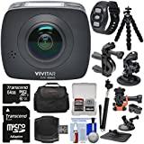 Vivitar DVR988HD 360 VR Wi-Fi Action Video Camera Camcorder (Black) with Remote + Action Mounts + Flex Tripod + 64GB Card + Case + Selfie Stick + Kit