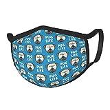 Pug Life Cute Pug Face Blue W Glasses Washable Face
