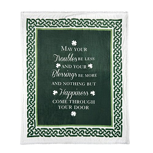 Nantucket Home St Patrick's Day Irish Blessing Sherpa Throw Blanket, 50-inch X 60-inch