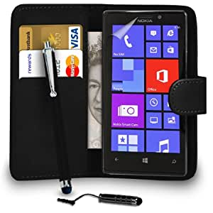 DMA Nokia Lumia 925 Cuero Negro Monedero del caso del tirón de la cubierta Pouch + Mini Touch Stylus Pen + Grandes Touch Stylus Pen + Protector de pantalla y paño de pulido