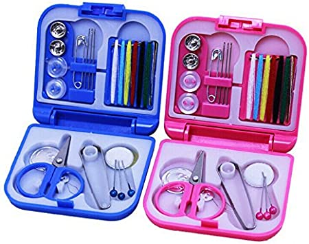 Pink Famixyal Portable Mini Travel Sewing Kit Box Needle and Thread Suit Sewing Basket Sew Essentials Storage System with Sewing Kit Accessories Suitable for Beginners /& Girls