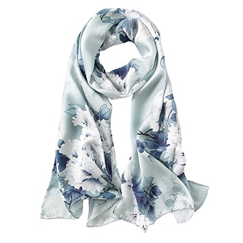 Chinese Gifts - STORY OF SHANGHAI Womens 100% Mulberry Silk Head Scarf For Hair Ladies Floral Satin Scarf,Silver Grey,One Size