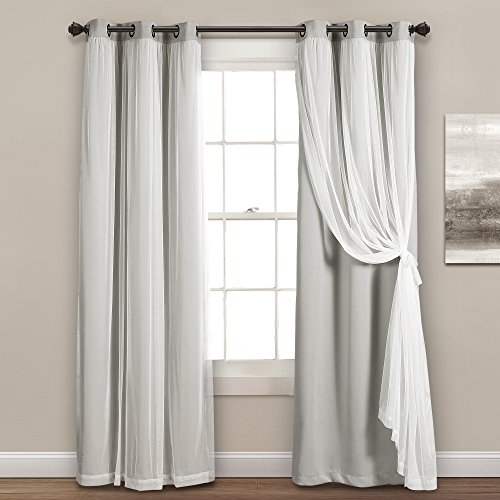 Lush Decor Sheer Grommet Panel with Insulated Blackout Lining, Room Darkening Window Curtain Set Pair , 84 x 38 Light Gray