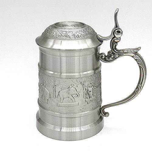 Oriental Pewter Pewter Mug (with Cover) Pure Tin 97% Lead-Free Pewter BJCM Hand Carved Beautiful Embossed Handmade in Thailand by Oriental Pewter