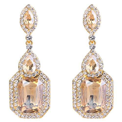 BriLove Women's Wedding Bridal Crystal Emerald Cut Infinity Figure 8 Chandelier Dangle Earrings Honey Topaz Color Gold-Tone Large Chandelier Earrings