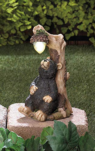wakatobi Rustic Black Bear Country Path Solar Light LED lamp Outdoor Garden Art Statue
