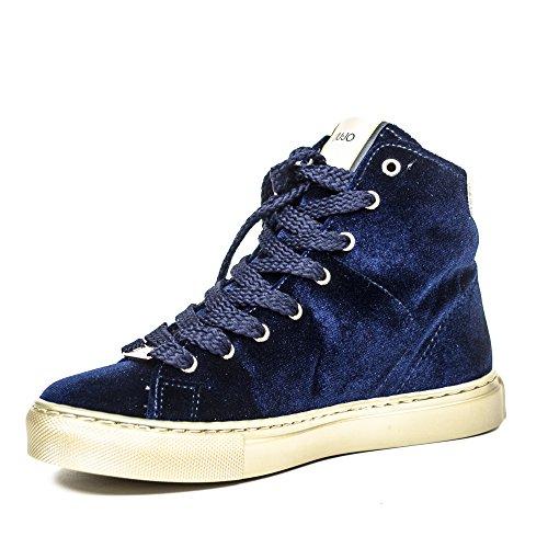 Liu S66053 Sneaker In Dress Alta Blu Velluto Donna Jo rr6an4