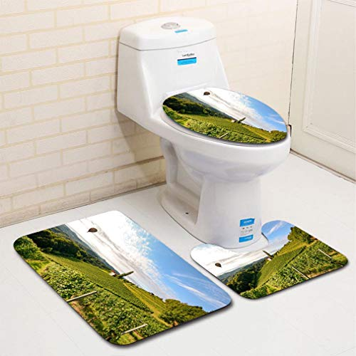 3-Piece Bathroom Set, bathroom rug + contour pad + lid toilet seat, Vineyards with hot air balloon near a winery before harvest in the tuscany wine growing area Italy comfortable flannel rug