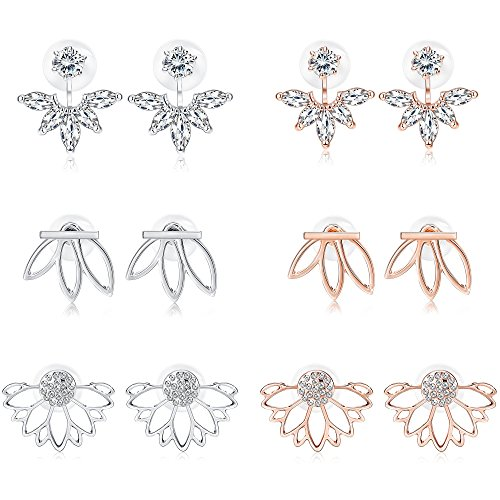 Jstyle 3 Pairs Lotus Flower Earrings Jackets For Women Girls Simple Chic Ear Stud Earrings (C:Silver + Rose Gold) by Jstyle