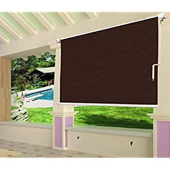 shatex 6x8ft coffee outdoor roller sun shade exterior cordless roller shade