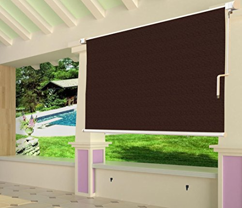 Shatex 8x8ft Coffee Outdoor Roller Sun Shade Exterior Cordless Roller Shade by Shatex