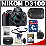 Nikon D3100 Digital SLR Camera & 18-55mm G VR DX AF-S Zoom Lens - Factory Refurbished with 55-200mm VR Lens + 16GB Card + Case + Accessory Kit