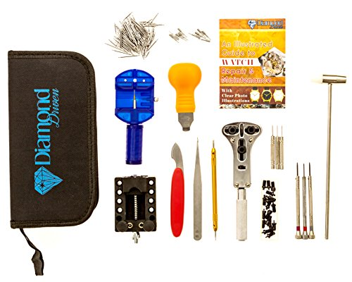 147 Pcs Portable Professional Watch Repair Tool Kit Set Solid Hammer Spring Bar Watchmaker with Manual from Diamond