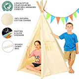 Kids 6 Pole Canvas Teepee Style Play Tent for Inside/Outdoor Use At Home Or School | Bunting, Glowing Star Stickers & Integrated Canvas Floor | Makes a Cool Fort or Playhouse by New Home Innovations