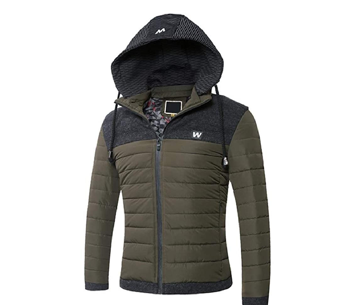 YUNY Mens Relaxed-Fit Solid Cotton Thicken Hood Down Coat Army Green M
