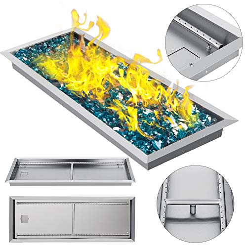 (VEVOR 37.5 Inch Fire Pit Pan Stainless Steel Linear Trough Drop-in Fire Pit Pan Rectangular Table Top Fire Pit Fire Bowl, 150k BTU, Double Burner)