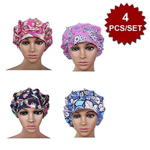 Womens Surgical Scrub Hat - Opromo Cotton Bleach Friendly Banded Adjustable Scrub Cap Sweatband Bouffant Hat-Assorted 7