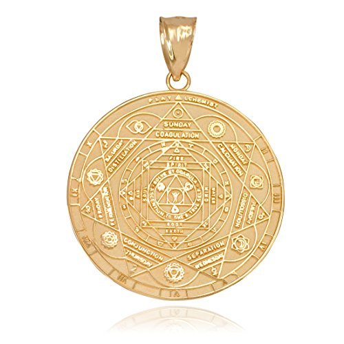 Hindu Jewelry by LABLINGZ 10K Yellow Gold 7 Chakra Yoga Meditation Calendar Medallion Pendant (S)