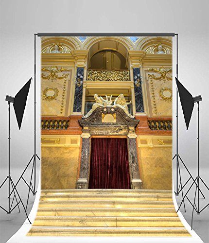- Laeacco 5x7FT Vinyl Backdrop Photography Background Luxury Stairway Entrance to Opera House Figure Statue Delicated Carved Pattern Wall Wedding Party Photographic Art Photo Shoot Studio Props