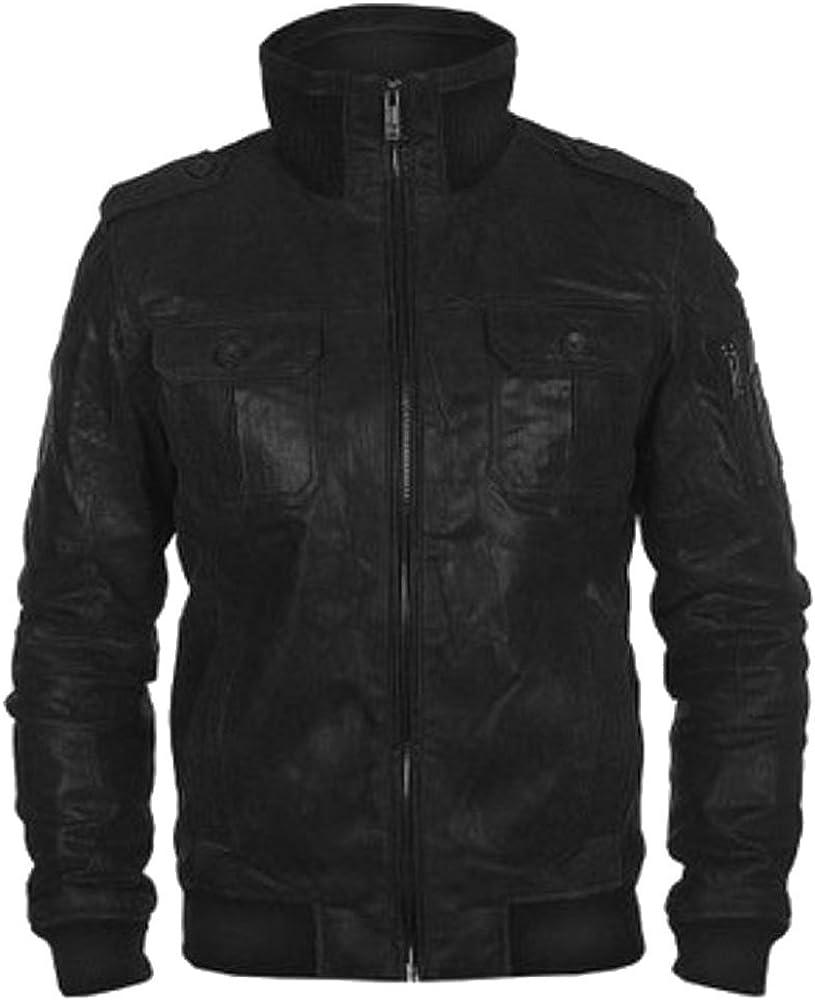 SRHides Mens Fashion Bomber Style Real Leather Simulator Jacket