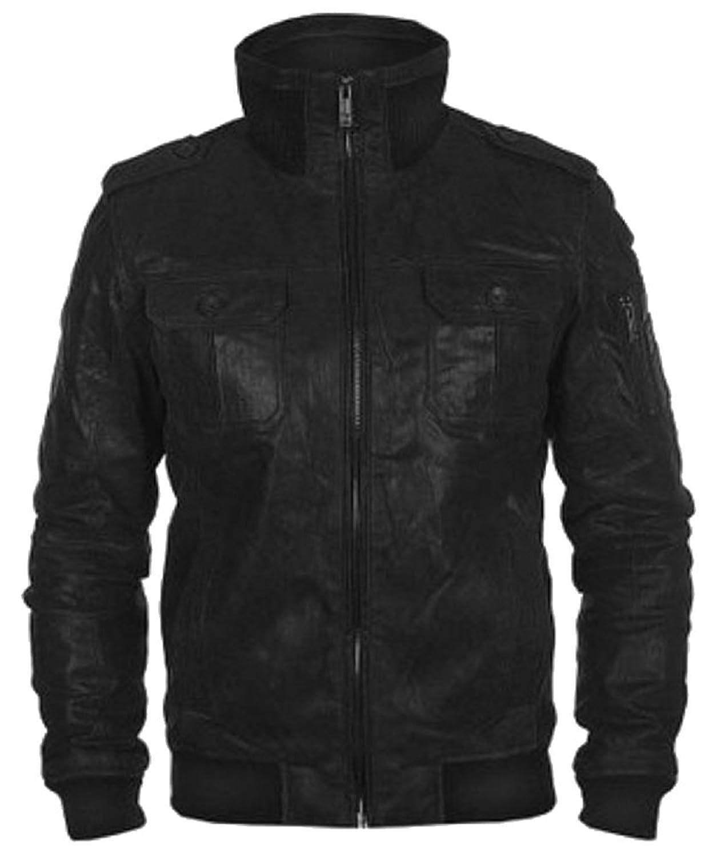 Classyak Men's Fashion Bomber Style Real Leather Simulator Jacket