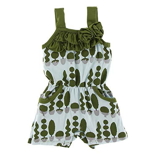 Kickee Pants Little Girls Print Flower Romper with Pockets - Spring Sky Villa Garden, 3-6 Months