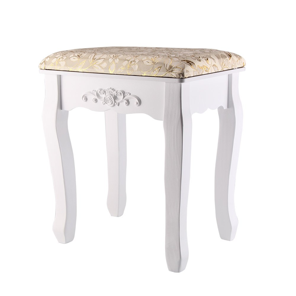 AllRight Dressing Table Stool Baroque Padded Piano Chair Makeup Seat White OEM