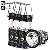 Solar Powered Lantern, 4 Packs Rechargeable Camping Lantern Flashlight Led Collapsible, Bright Lights for Emergency, Hurricane, Power Outage(Black) (Black 4 Pack)