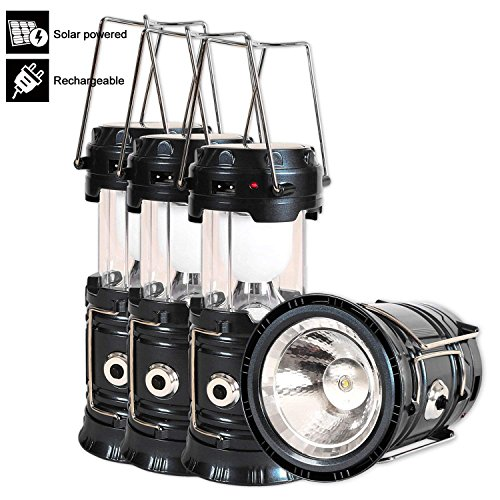 Solar Powered Lantern, 4 Packs Rechargeable Camping Lantern Flashlight Led Collapsible, Bright Lights for Emergency, Hurricane, Power Outage(Black) (Black 4 ()
