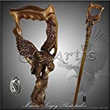 Fishing American Eagle Wood Carved Hand Crafted Walking Stick Cane Rich Engraved Dark