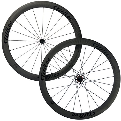 3k Road Bike (Wilee Bike 50mm Clincher Road Carbon Wheelset 3K Twill Matte Bicycle Carbon Wheels (Black (glossy) Decal))