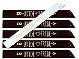 #glamist Bride Tribe 18 Piece Bachelorette Sash Set - 6 Gold Glitter Black & White Bridal Shower Sashes, 6 BONUS Bride & Bride Tribe Temporary GoldGloss Tattoos, & 6 Gold Decor Pins